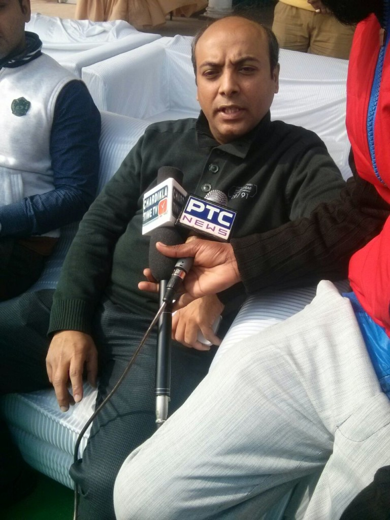 Mr Vikas Kataria Zonal business manager idea Cellular addressing media after inauguration of Idea junior sports league at Photo grounds Patiala