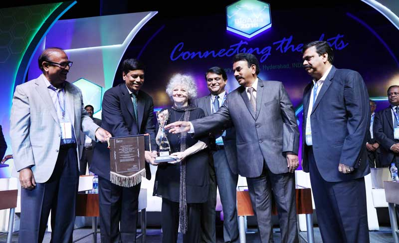 BioAsia-2016-Nobel-Laureate-Prof-Ada-Yonath-(center)-being-presented-the-BioAsia-Genome-Valley-Excellence-Award-2016-at-the-Inaugural-Ceremony-at-BioAsia-2016