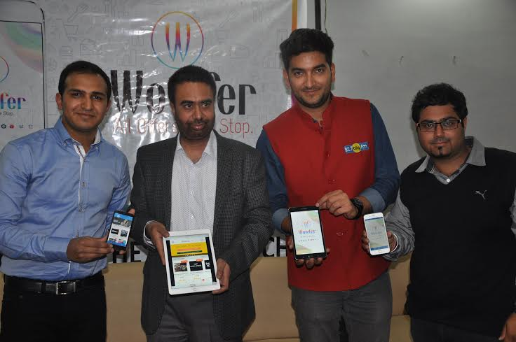 K S Bhatia(2nd from Left), Founder & CEO, Pumpkart.com & popular Radio Jockey  Abhimanyu(3rd from Left) launching tricity's first discount exploration App developed by two Tricity youngsters -- Rajat Bansal(L) & Amit Arora (R).