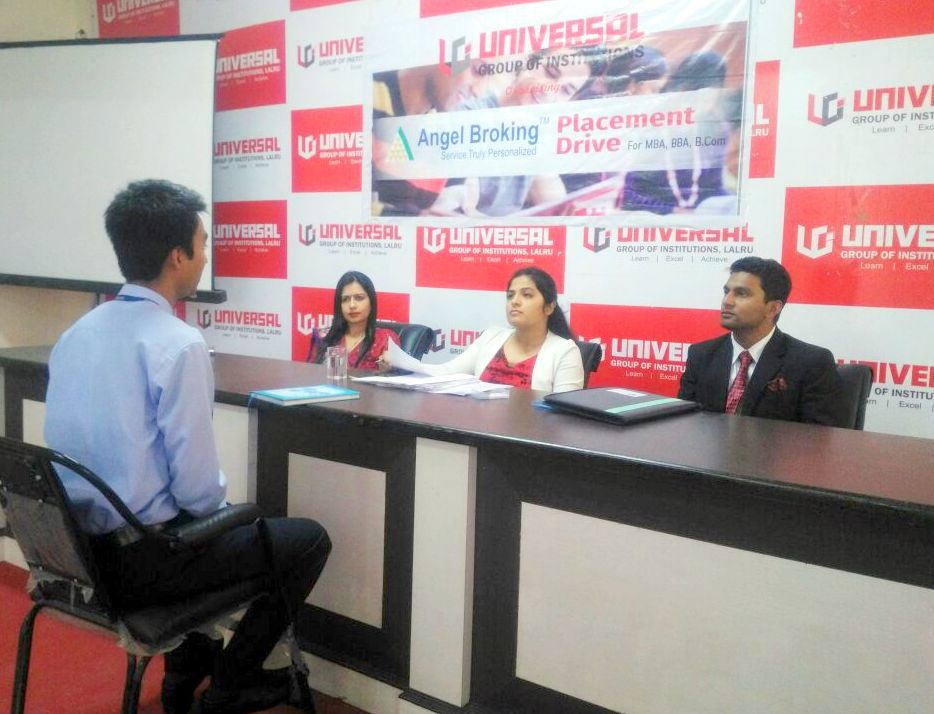 Stundents in Interview session at held at Universal Group
