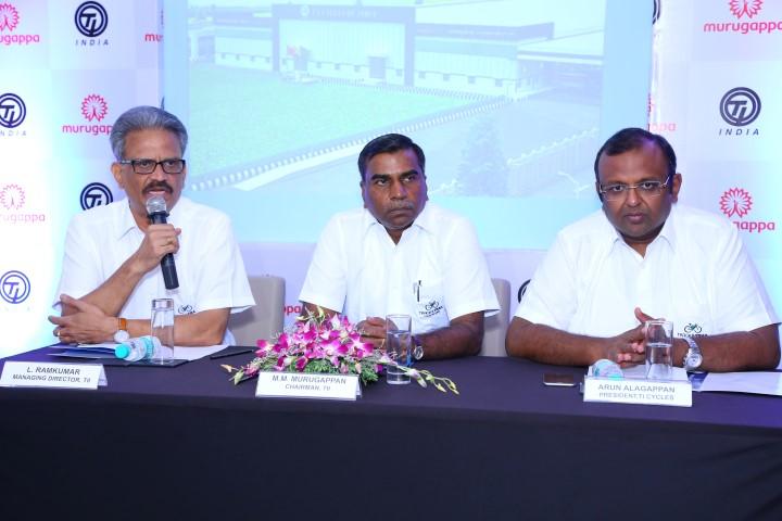 Mr L Ramkumar, Managing Director, Tube Investments of India Ltd (L) Mr. MM Murugappan, Chairman Tube Investments of India (C) and Mr Arun Alagappan, President, TI Cycles India Ltd, (R) (Small)
