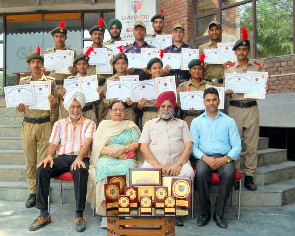 Gian Jyoti Chairman J S Bedi with NCC Cadets  who won more than 10 trophies during the 10 days NCC camp held at Mohali copy (Small)