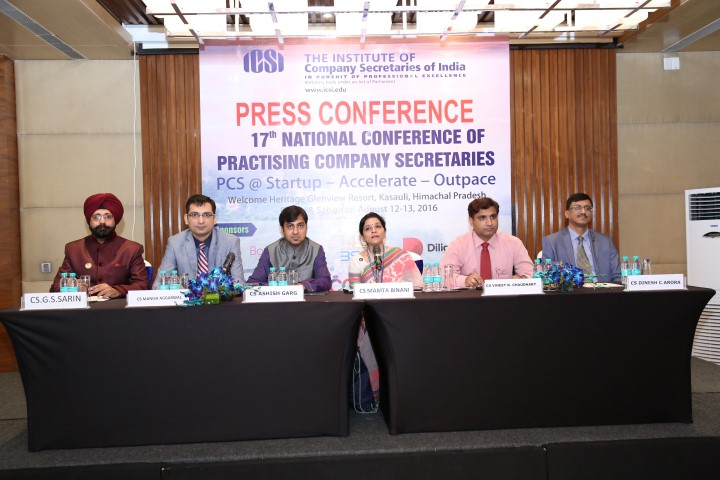 Photo Caption -Ms Mamta Binani (Centre), President-Institute of Company Secretaries Of India, at the press conference to announce 17th National Conference of Practicing Company Secretaries (Small)