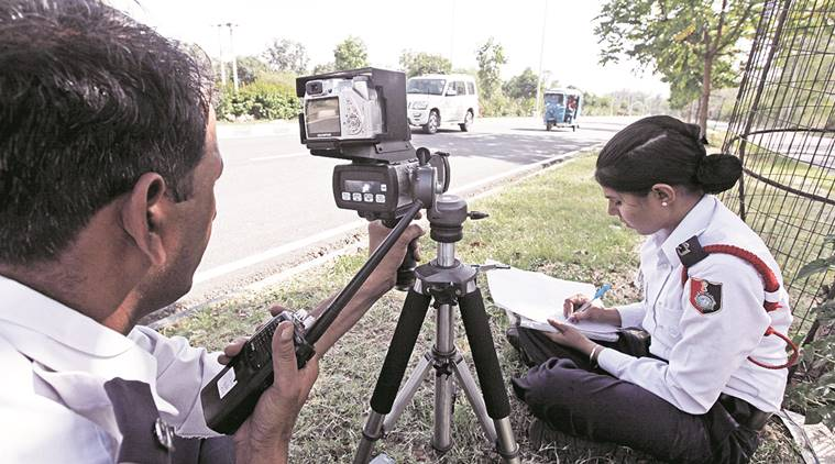 File photo The Chandigarh traffic police had deployed speed radar gun to catch the offenders near the IT park in Manimajra on Sunday.-Express photo by Jasbir Malhi