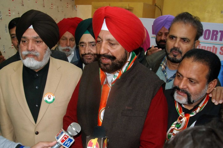 Col Ranjit Singh  Boparai, (retired)  , left,  and Balbir Singh Sidhu, former MLA and congress candidate from Mohali, at the inaguration of congress   election office at Phase V11 Market in Mohali on Tuesday.