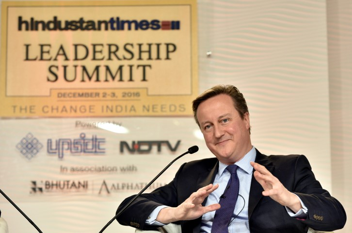 New Delhi, India - Dec. 3, 2016: David Cameron, Ex Prime Minister of the United Kingdom, in conversation with Bobby Gosh, Editor-In-Chief, during Hindustan Times Leadership Summit at Taj Palace, in New Delhi, India, on Saturday, December 3, 2016.  (Photo by Arun Sharma/ Hindustan Times)