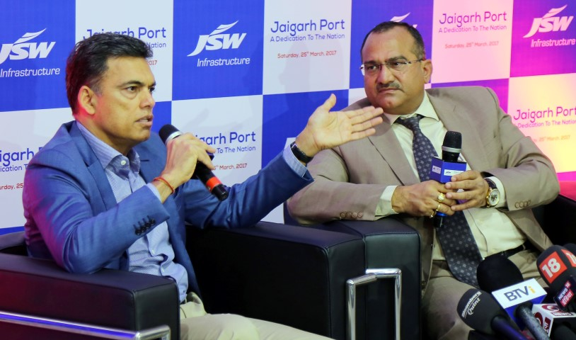 Image 1-(L-R) Mr. Sajjan Jindal, Chairman, JSW Group and Capt BVJK Sharma, JMD & CEO ,JSW Infrastructure Ltd at Jaigarh Port (Small)