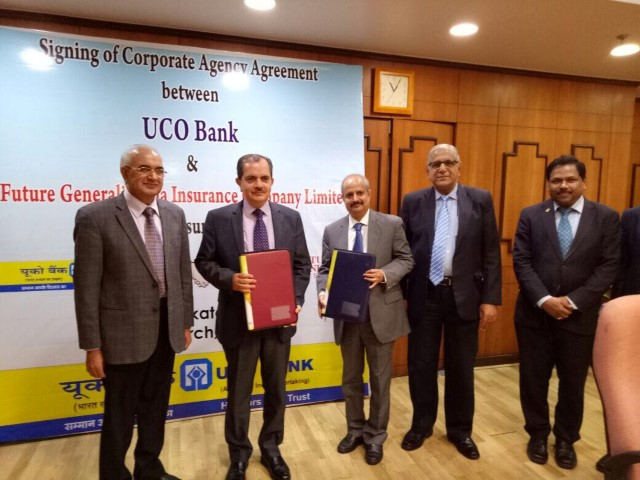 K.G. Krishnamoorthy Rao, MD and CEO, Future Generali India Insurance Company Limited exchanged the Corporate Agency Agreement with Ravi Krishan Takkar, MD & CEO, UCO Bank (Small)