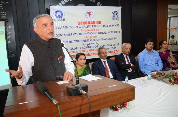 Photo1_Pawan Kumar Bansal, former union minister while speaking at consumer awareness seminar at Chandigarh Press Club on Wednesday (Small)