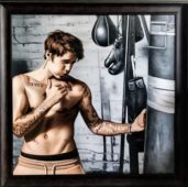 Justin Bieber presented with a hyper-real boxing portrait