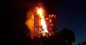 Massive fire engulfs high-rise residential building in London