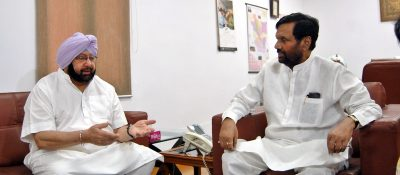 Punjab CM Meets Paswan To Seek Fresh Review of Rs 31000 Cr Foodgrain Procurement Debt.