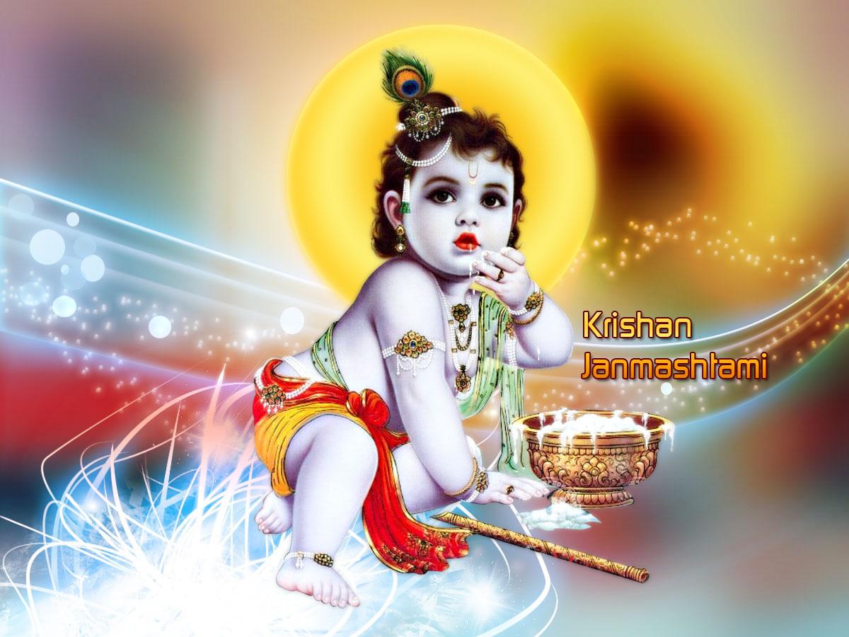 Happy Krishna Janmashtami HD 3D Wallpaper