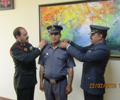 NCC Group Commander Brigadier R S Thakur bestow the rank of First Officer on SO Anil Patel, ANO of DAV