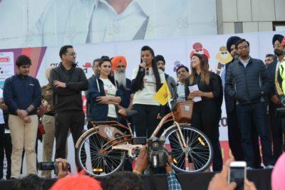 Bollywood actress Mughda Godse rides with Ludhiana